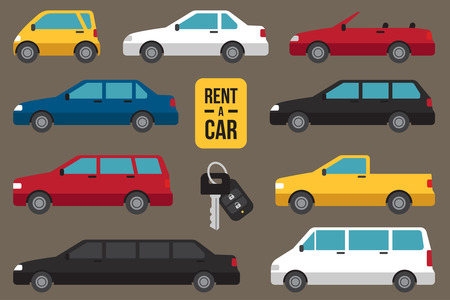 Illustration for Vector set of different types of cars for rent with car key. - Royalty Free Image