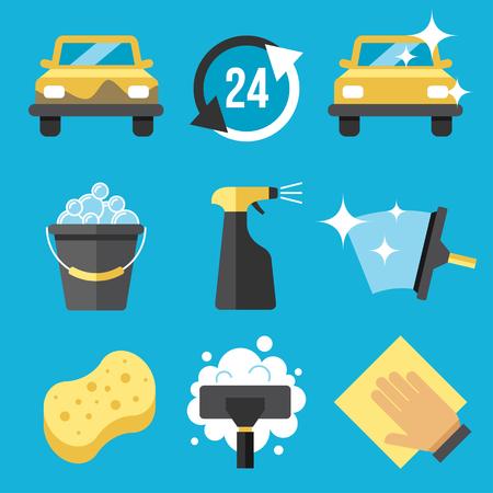 Illustration for Vector set of car washing tools - Royalty Free Image
