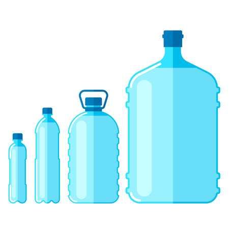 Illustration pour Vector set of plastic bottles with water, isolated on white background. - image libre de droit