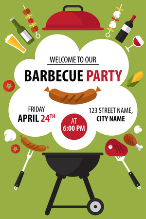Ilustración de Colorful barbecue party invitation. Vector illustration. - Imagen libre de derechos