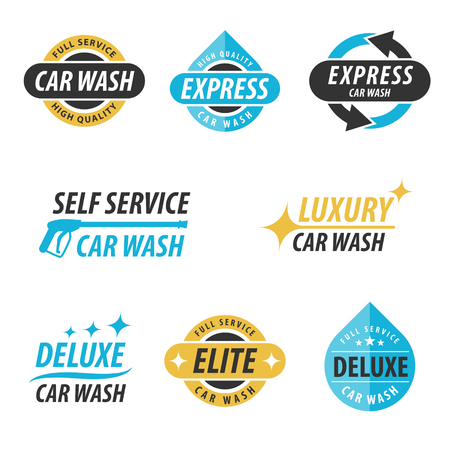 Illustration pour Vector set of car wash logotypes: for express, full service, self service, luxury, elite and deluxe car wash. - image libre de droit