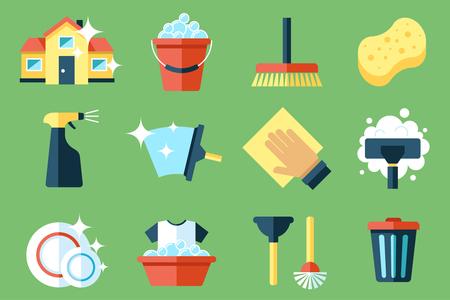 Illustration pour Vector set of cleaning tools. Flat design style. - image libre de droit