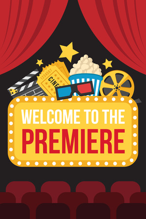 Illustration for Colorful vector poster of movie premiere with cinema curtains, seats, welcome sign, cine, popcorn, 3d glasses, tickets and slate on dark background. Flat style. - Royalty Free Image