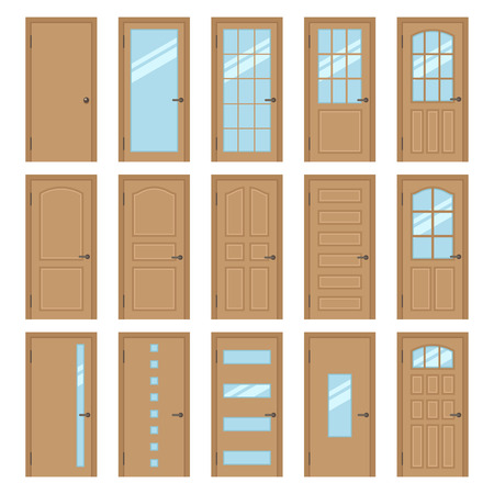 Vector collection of various types of wooden interior doors. Isolated on white. Flat style.