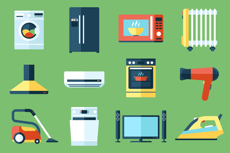 Illustration for Vector collection of household appliances icons. Flat style. - Royalty Free Image