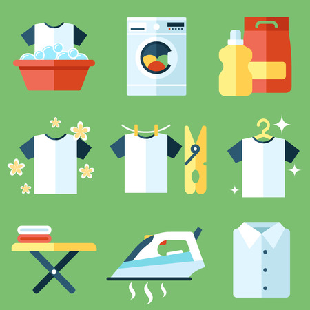 Illustration for Vector set of laundry, clothes washing and ironing icons. Flat style. - Royalty Free Image