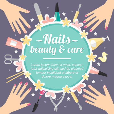 Illustration for Vector manicure concept with place for your text. Template for card, banner, flyer etc. Flat style. - Royalty Free Image