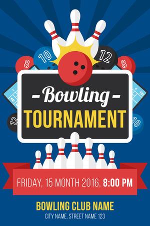 Illustration pour Colorful vector poster template for bowling tournament. Flat style. - image libre de droit