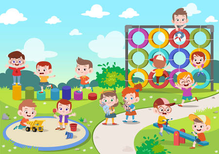 Illustration pour kids children playing playground vector illustration - image libre de droit