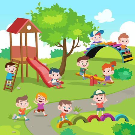 Illustration for kids children playing playground vector illustration - Royalty Free Image