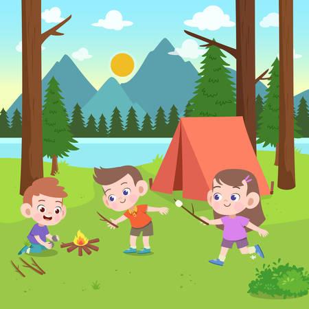 Vektor für kids scouts at camp vector illustration - Lizenzfreies Bild