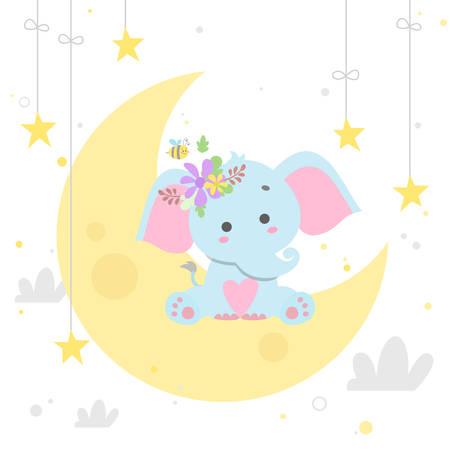 Illustration pour elephant on moon vector illustration isolated - image libre de droit