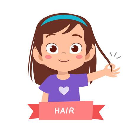 Illustration pour kid cute happy pointing body part vector - image libre de droit