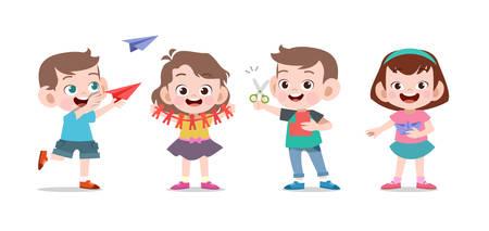Illustration pour kids play cute school together vector illustration set - image libre de droit