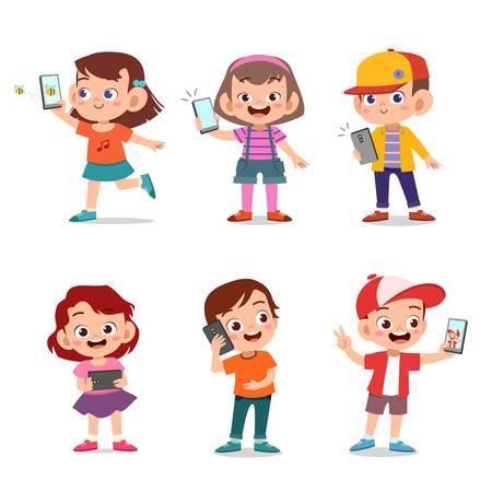 Illustration pour kids cute happy children with smartphone vector - image libre de droit
