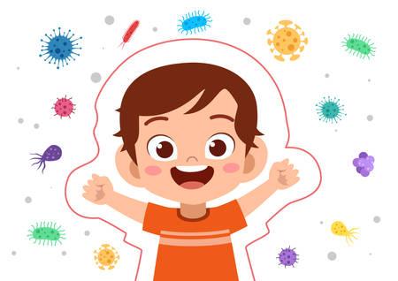 Illustration pour happy kids immune protection system vector illustration - image libre de droit