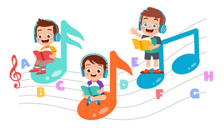 Illustration pour happy kid read book study knowledge - image libre de droit