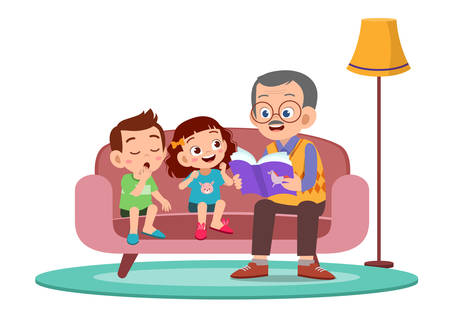 Illustration for happy kids hear story from grandfather vector - Royalty Free Image