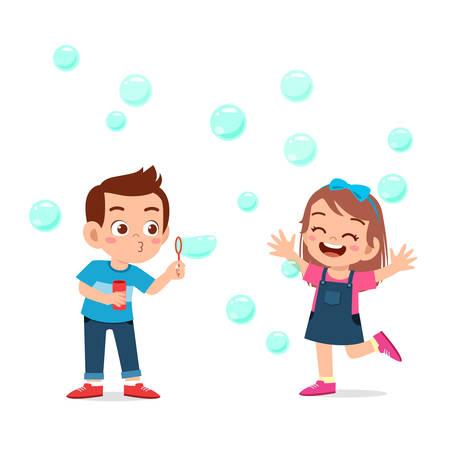 Illustration pour cute kid boy and girl blow bubble - image libre de droit