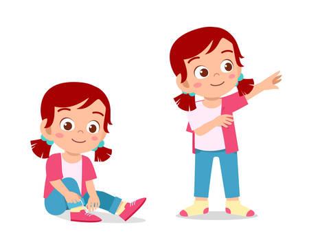 Illustration pour happy cute kid girl do dressing process - image libre de droit