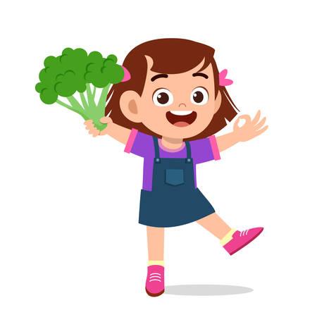 Ilustración de happy cute kid girl holding fresh vegetable - Imagen libre de derechos