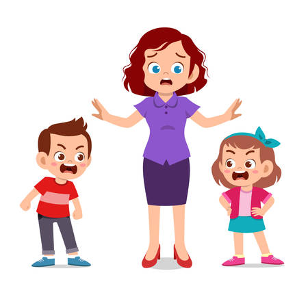 Illustration for cute kids with parent design vector illustration - Royalty Free Image