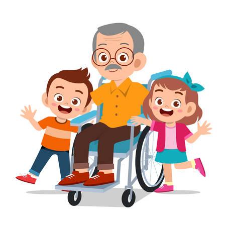 Illustration pour happy cute kids with grandparent vector illustration - image libre de droit
