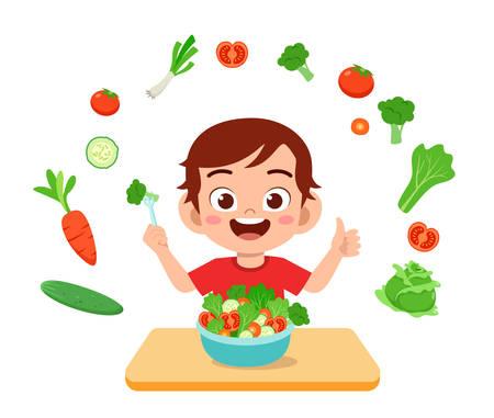 Vektor für cute happy kid eat salad vegetable fruits - Lizenzfreies Bild