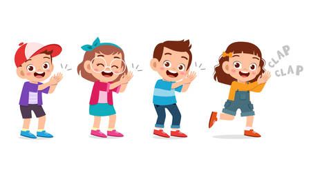 Ilustración de cute happy kid clap hand cheer smile - Imagen libre de derechos