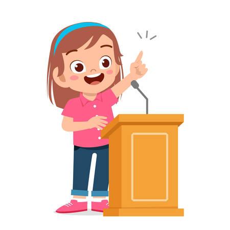 Illustration for happy cute kid girl speech on podium - Royalty Free Image