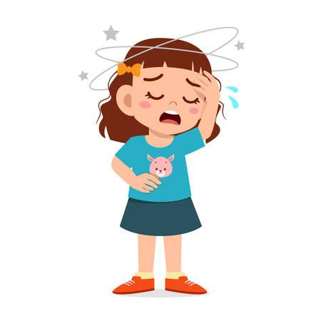 Illustration pour cartoon little kid girl get bad headache - image libre de droit