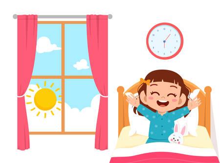 Illustration pour happy cute little kid girl wake up - image libre de droit