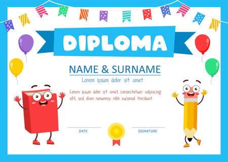 Illustration pour cute diploma certificate template for school student - image libre de droit