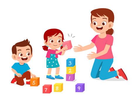 Illustration pour happy cute little kids boy and girl study with teacher - image libre de droit