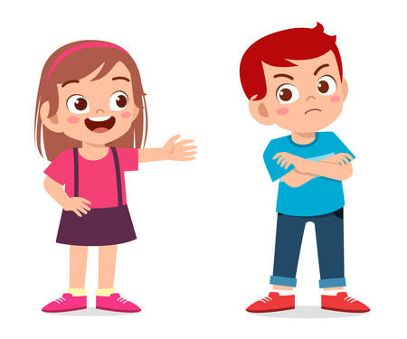 Illustration for cute little kid boy angry to his friend - Royalty Free Image