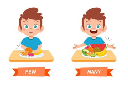 Illustration pour cute example of opposite word antonym for kid - image libre de droit
