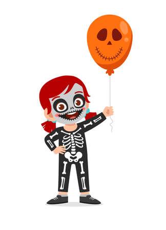 happy cute little kid boy and girl celebrate halloween wears skeleton costume