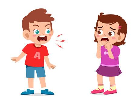 Illustration pour little boy angry and shout to little girl - image libre de droit