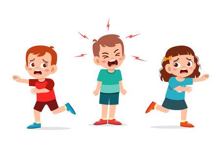 Illustration pour little girl fight and argue with her friend - image libre de droit