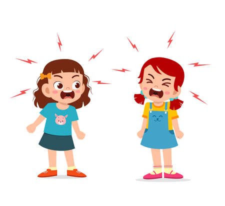 Illustration for little girl fight and argue with her friend - Royalty Free Image