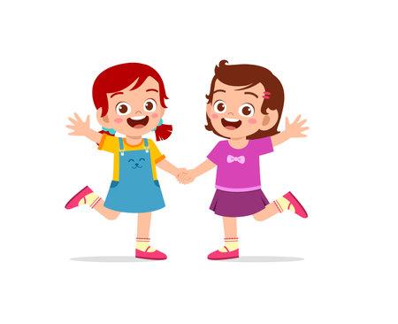 Illustration pour cute little kid girl holding hand with her friend - image libre de droit