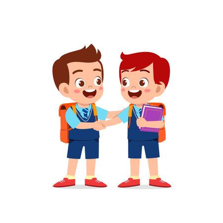 Illustration pour cute little kid boy do hand shake with his friend - image libre de droit