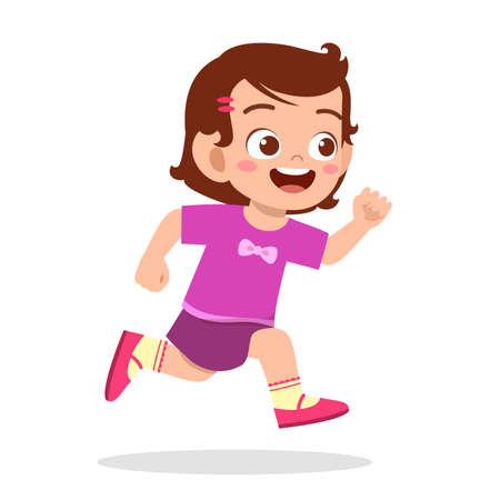 Ilustración de happy cute little girl running so fast - Imagen libre de derechos