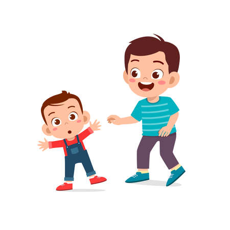Illustration for cute little boy play with baby sibling together and learn to walk - Royalty Free Image
