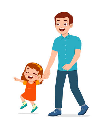 Illustration pour young good looking father holding hand and walk with kid - image libre de droit