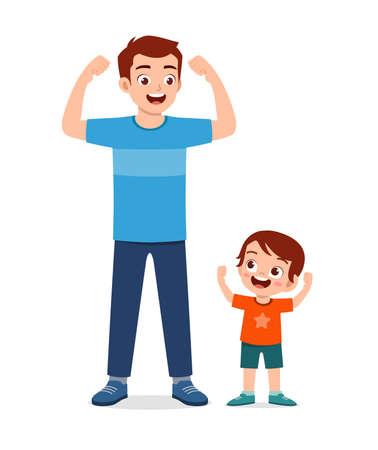 Illustration pour cute little kid copy dad strong pose - image libre de droit
