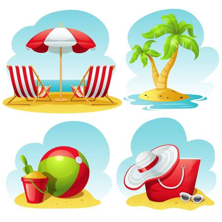 Illustration pour beach icon set - image libre de droit