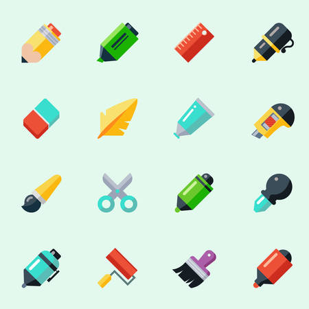 Illustration pour Writing and drawing tools icons in flat design - image libre de droit
