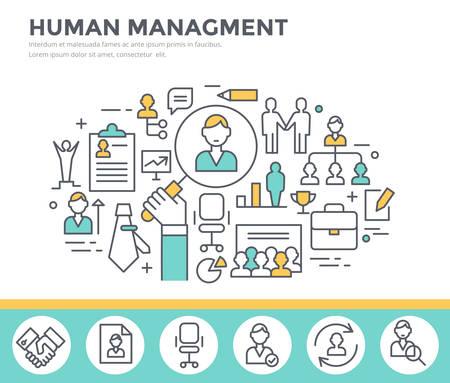 Ilustración de Human resource management, team building and business training concept illustration, thin line flat design - Imagen libre de derechos
