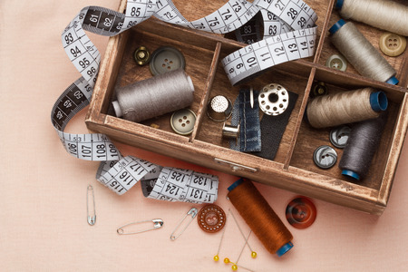 Sewing tools in a wooden box